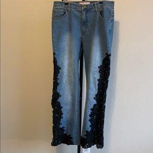 Sassy Thai Beaded Lace Denim Jeans
